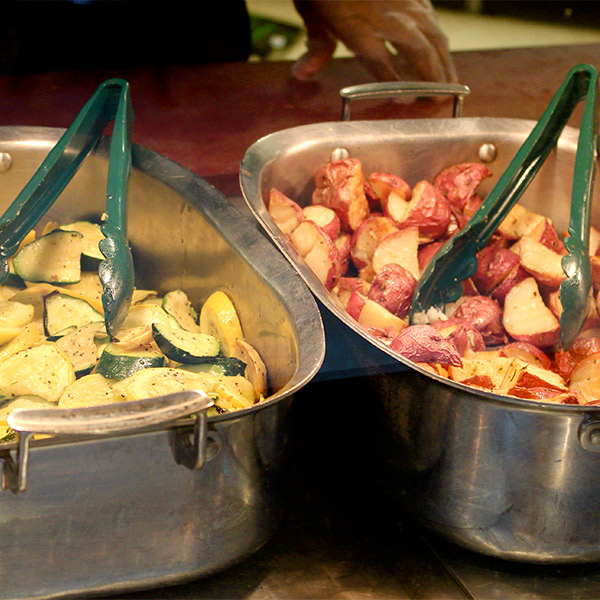 Pans of food in Cafe Mac.