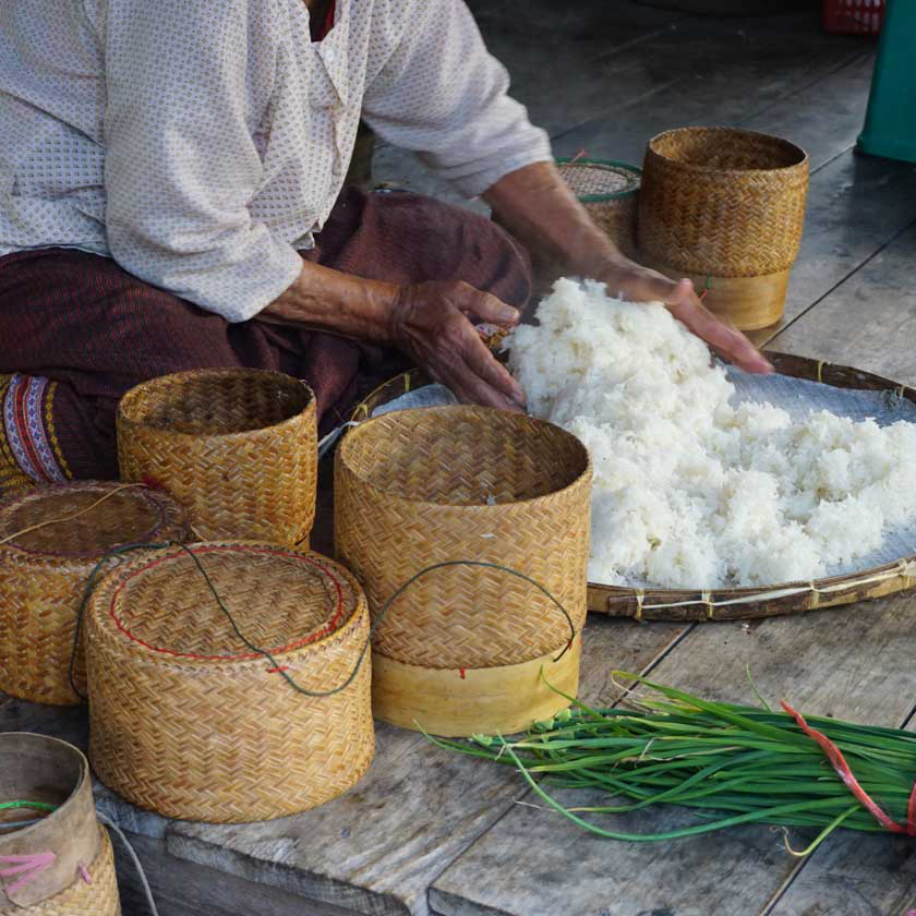 Rice being mixed in Thailand.